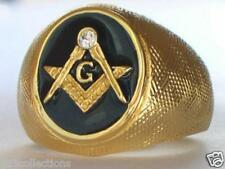 Vermeil 925 Sterling Silver Black Enamel Clear Crystal Mason Masonic Men Ring 13