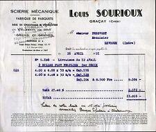"""GRACAY (18) SCIERIE PARQUETERIE / PARQUETS & BOIS """"Louis SOURIOUX"""" 1951"""