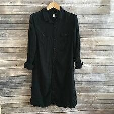 OLD NAVY L Black Long Sleeve Oversized Shirt Dress Women's Large NN41