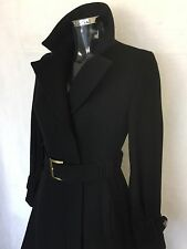 Women's TED BAKER Coat Size 1 UK 8 FITTED Wool Black Full Length Trench Coat