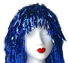 Metallic Blue Tinsel Wig Cyber Disco Nu Rave Festival Fancy Dress