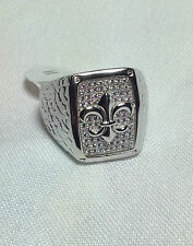 Men's Sterling Silver Fleur De Lis Micro Pave Ring