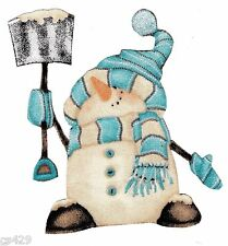 """5"""" WHIMSICAL BLUE SNOWMAN CHRISTMAS  HOLIDAY FABRIC APPLIQUE IRON ON CHARACTER"""