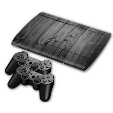 PS3 PlayStation 3 Super Slim Skin Design Aufkleber Schutzfolie Set - Grey Wood
