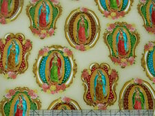 Inner Faith Virgin Mother MARY of Guadalupe Metallic Natural Fabric
