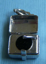 Vintage enamel record player in case tonearm moves sterling charm