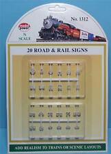 N Scale-Model Power-1312-Assorted Road & Railroad Signs-20 Styles-24 Pieces