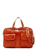 New NWT $1200 Persaman New York Angelo Tan Italian Leather Briefcase