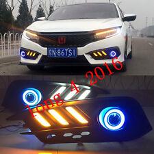 2x LED DRL Daytime Fog Light Projector+angel eye kit For Honda Civic 4DR 2016-up