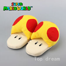 One Pair Super Mario Mushroom Adult Soft Plush Doll Slippers Indoor Shoes 11''