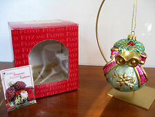 "Fitz and Floyd ""JOSN"" Jolly Ole St. Nick Toy Bag glass ornament, 2001.Exc. cond."