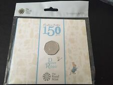 2016 UK Beatrix Potter 150 Years Peter Rabbit 50p Fifty Pence Coin Pack BU