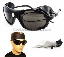 Removable Leather side shield motorcycle Polarized sunglasses with strings Hike
