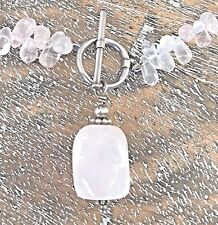 Silpada .925 Sterling Silver Chunky Pink Rose Quartz Necklace Retired N1058