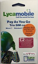 2 x LYCAMOBILE PLUS SIM CARDS