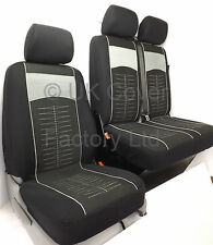 VW CRAFTER  VAN SEAT COVERS SINGLE+DOUBLE GREY QUILTED STITCH CLOTH P40GRY