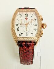 NEW MICHELE RELEVE ROSE GOLD TONE,RED+BLACK LEATHER,DIAMOND,WATCH MW19A01B4001