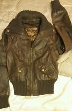 NEW LOOK . Ladies , girls real leather jacket . Brown , size 8 .
