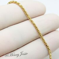 """16""""18""""20""""24""""30""""MEN WOMEN Stainless Steel 1.5mm Gold Smooth Box Chain Necklace"""