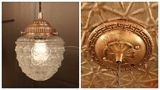 Vintage Brass Ceiling Hanging Pendant Light Fixture with Glass Acorn Globe