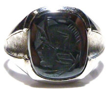 "DESIGNER ""SA"" 10K WHITE GOLD HEMATITE INTAGLIO WARRIOR MENS SHIELD RING SZ 11.75"
