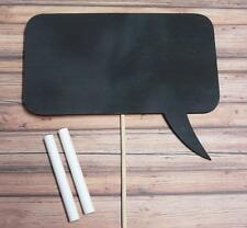 Photo Booth Sign Wedding Engagement Props Wooden Rectangle Bubble with Chalk