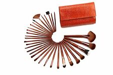 Glow 32 Piece Crocodile Leather Design Professional Makeup Brushes Brown Case
