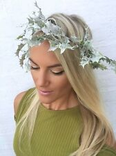 Glitter Holly Green Leaf Garland Hair Head Band Christmas Xmas Choochie Choo