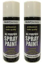 2 x All Purpose White Gloss Spray Cans Tins Spray Paint Interior Exterior 250ml