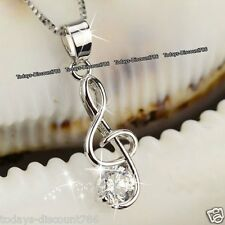 BLACK FRIDAY DEAL Xmas Gift For Her Silver Treble Clef Music Note Necklace Women