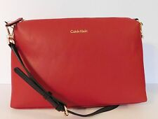 Calvin Klein Red Leather Purse Handbag Crossbody NWOT