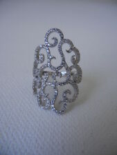 Italy NEW 925 Sterling Silver (Sz 6,7) Cubic Zirconia Cut-out Swirl Trendy Ring
