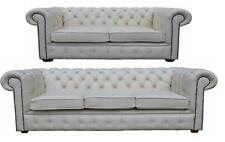 Chesterfield English 3+2 Seater Real White Leather Sofa Settee Suite