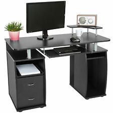 Computertisch Arbeitstisch mit Schubladen Schreibtisch Büromöbel schwarz B-Ware