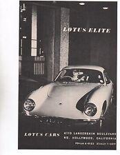 1960 LOTUS ELITE ~ ORIGINAL SMALLER PRINT AD
