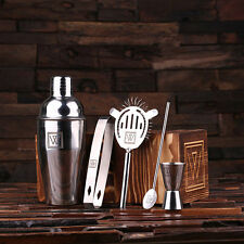 Personalized Monogrammed 5 pc. Stainless Steel Cocktail Set Barware