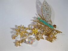 "KIRKS FOLLY ""ASTRAL FAIRY BROOCH"" WONDERFUL W/STUNNING WINGS/CRYSTALS! LOOK"