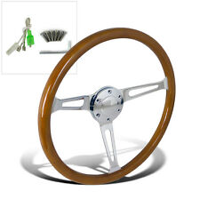 370MM/14.75inch Aluminum Spokes Vintage Classic Wooden Wood Grain Steering Wheel