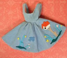 Vintage Barbie Clothes 979 Friday Night Date Blue Corduroy Jumper 1960 Very Good