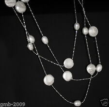 "Natural Coin Rice White Pearl Beads Long Necklace 46"" Gem Stone Fashion Jewelry"