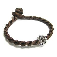 Brown SILK CORD BRACELET for European Bead Charm 8""