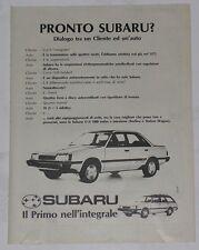 Advert Pubblicità 1987 SUBARU LEONE 4WD TURBO BERLINA