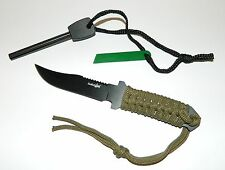 Dual Rod Flint Magnesium Fire Starter Kit & Full Tang Outdoor Survival Knife NEW