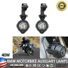 2X 40W LED Auxiliary Fog Lights Spot Driving Lamps For BMW Motorcycle Motorbikes