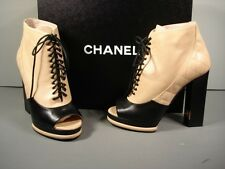 CHANEL RUNWAY BLACK BEIGE OPEN TOE BOOTIE ANKLE BOOTS PUMPS SHOES 38 NEW $1372