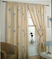 """66"""" X 72"""" FLEUR FLORAL READY MADE LINED CURTAINS TEAL CREAM IVORY 100% POLYESTER"""