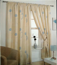 "66"" X 90"" FLEUR FLORAL READY MADE LINED CURTAINS TEAL CREAM IVORY 100% POLYESTER"