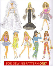 SEWING PATTERN! MAKE BARBIE DOLL CLOTHES! 8 OUTFITS! BRIDE~DRESS~SKIRT~TOP~PANTS