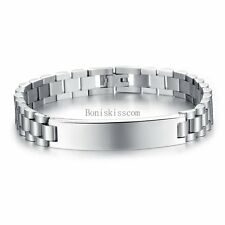 Silver Stainless Steel Flat ID link Bracelet Strap Chain Band Wristband for Men