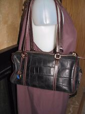 DOONEY & BOURKE Genuine Soft Leather Croc Black/ Brown Satchel Hand/Shoulder Bag